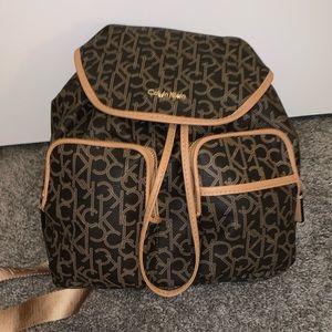 NWT CALVIN KLEIN Monogram Backpack Brown/Carmel